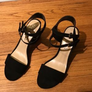 black suede sandals with doble ankle strap, new